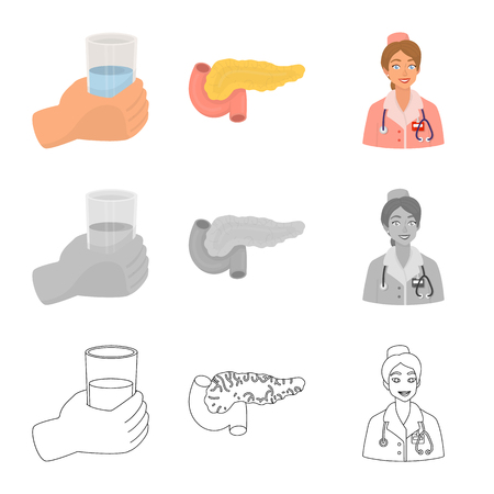 Isolated object of diet and treatment  icon. Set of diet and medicine stock vector illustration.