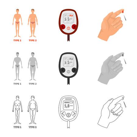 Ilustración de vector de logo de dieta y tratamiento. Colección de símbolo de stock de dieta y medicina para web.