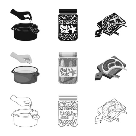 Vector design of cooking and sea symbol. Collection of cooking and baking   vector icon for stock. Çizim