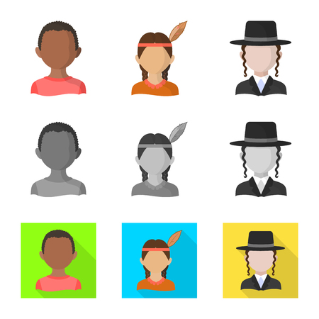 Isolated object of imitator and resident icon. Set of imitator and culture stock vector illustration. Ilustrace