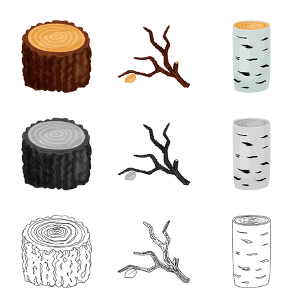 Vector design of tree and raw icon. Collection of tree and construction stock symbol for web.