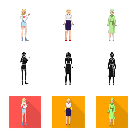 Vector design of posture and mood symbol. Collection of posture and female stock symbol for web. Vector Illustratie