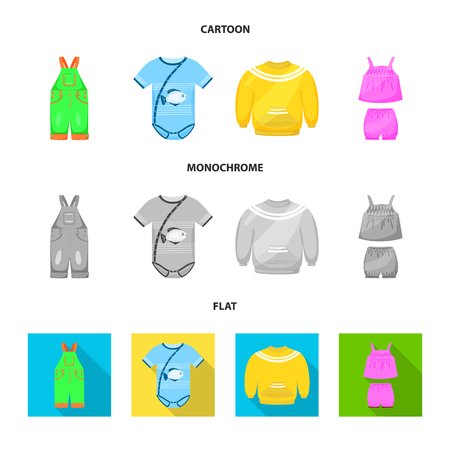 Isolated object of fashion and garment icon. Set of fashion and cotton stock vector illustration.