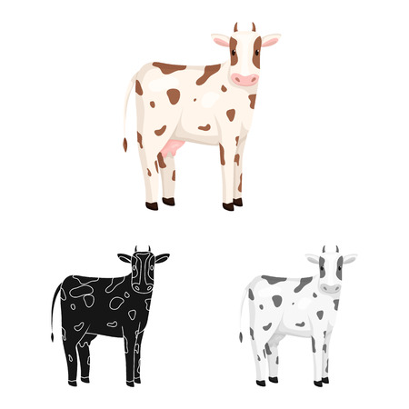 Vector illustration of cow and calf logo. Set of cow and milk vector icon for stock. 일러스트