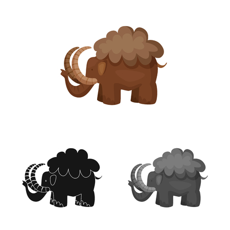 Isolated object of mammoth  and animal logo. Set of mammoth  and prehistory  stock vector illustration.