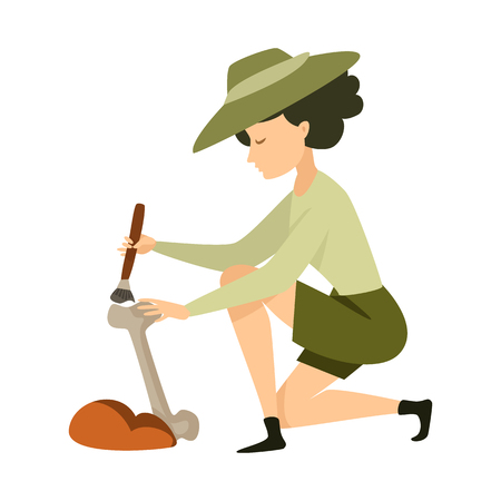 Vector illustration of archaeologist  and girl sign. Set of archaeologist  and pit stock symbol for web.