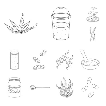 Vector illustration of food and vegan logo. Set of food and weed stock vector illustration.