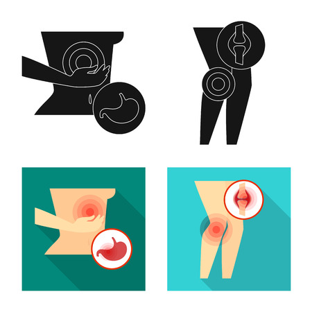 Vector design of hospital and rendering logo. Set of hospital and help stock symbol for web.