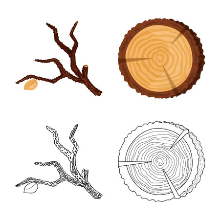 Isolated object of tree   and raw  symbol. Set of tree   and construction vector icon for stock.
