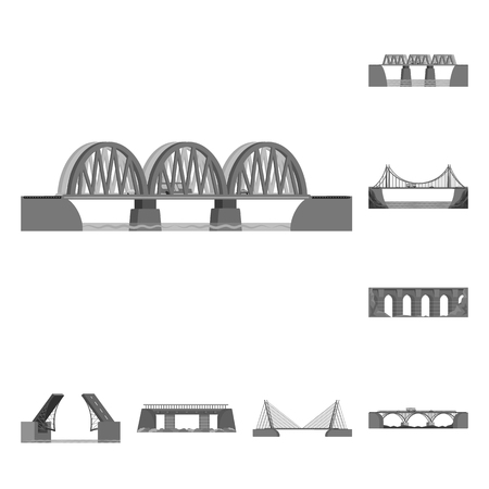 Vector illustration of design and construct logo. Set of design and bridge vector icon for stock.