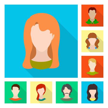 Illustrazione vettoriale di avatar e segno fittizio. Raccolta di avatar e figura simbolo azionario per il web.
