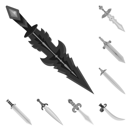 Vector illustration of sharp and blade  icon. Set of sharp and dagger  vector icon for stock. Ilustração