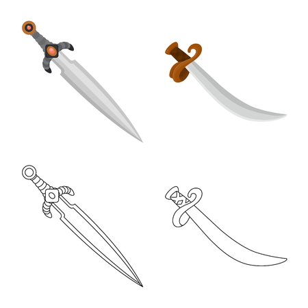Vector design of game  and armor. Set of game  and blade  stock symbol for web. Illustration