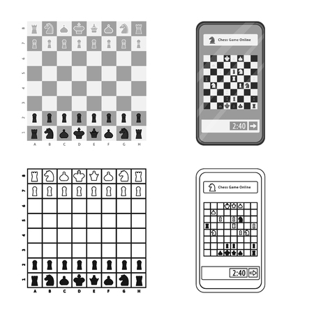 Vector design of checkmate and thin icon. Set of checkmate and target stock vector illustration.