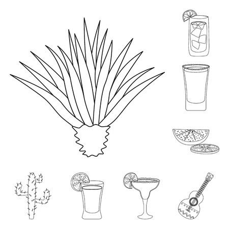 Vector design of Mexico and tequila icon. Set of Mexico and fiesta stock symbol for web.