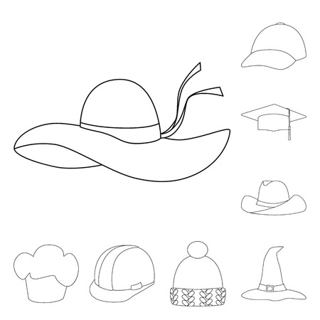 Vector design of headgear and napper sign. Collection of headgear and helmet stock vector illustration.