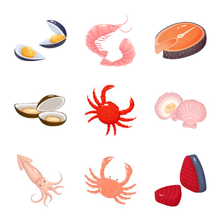 Vector design of food and sea icon. Set of food and healthy vector icon for stock.