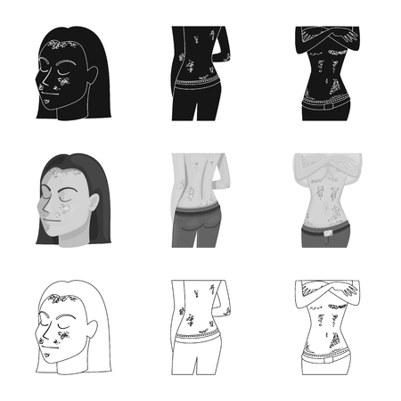 Illustration vectorielle du médical et de la douleur. Collection de symbole boursier médical et de maladie pour le web.