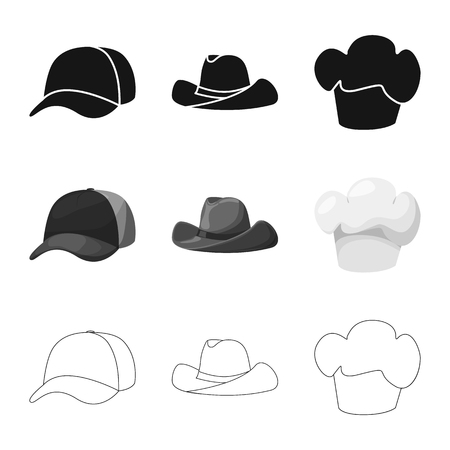 Vector illustration of clothing and cap sign. Set of clothing and beret stock symbol for web.