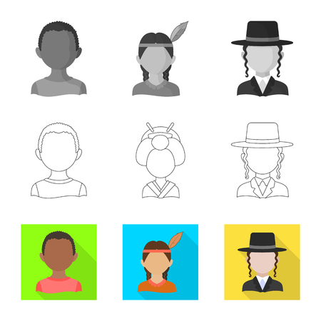 Vector illustration of imitator and resident. Set of imitator and culture stock symbol for web. Ilustrace