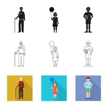 Isolated object of character and avatar  icon. Set of character and portrait stock vector illustration. Illustration