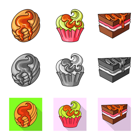Isolated object of confectionery and culinary sign. Set of confectionery and product stock vector illustration. Illustration
