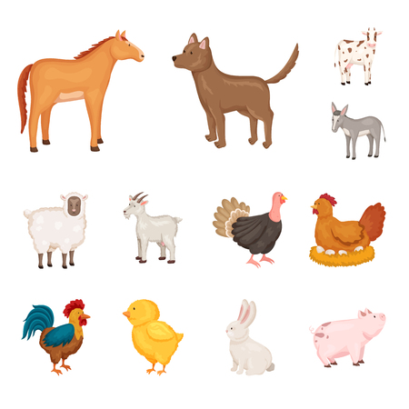 Isolated object of farm and food icon. Collection of farm and countryside stock symbol for web.