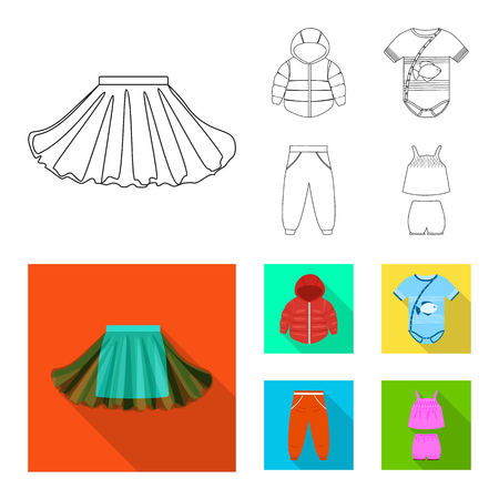 Isolated object of fashion and garment icon. Collection of fashion and cotton stock vector illustration. Ilustrace