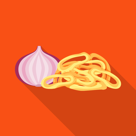 Vector design of onion and ring. Collection of onion  and crisp  stock vector illustration.