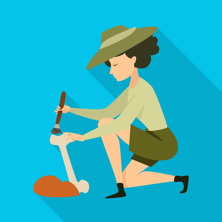 Isolated object of archaeologist  and girl icon. Collection of archaeologist  and pit stock vector illustration. Foto de archivo - 121736215