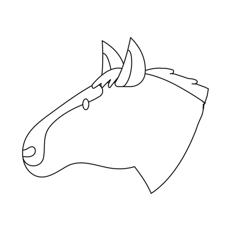 Vector illustration of horse and face  icon. Collection of horse and pet  stock vector illustration. Archivio Fotografico - 121736315