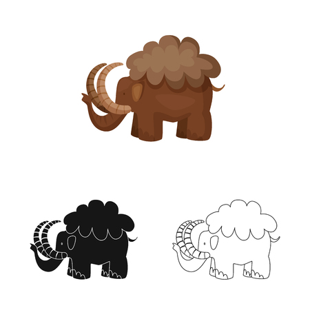 Vector design of mammoth  and animal sign. Collection of mammoth  and prehistory  stock vector illustration.