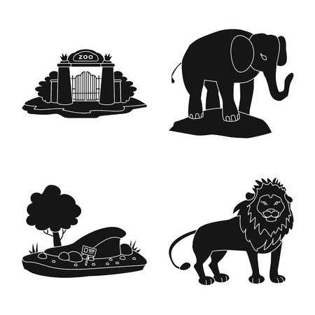 Vector illustration of fauna and entertainment symbol. Set of fauna and park vector icon for stock.