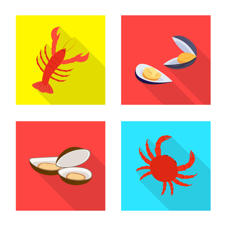 Isolated object of product and ocean symbol. Collection of product and restaurant stock vector illustration.