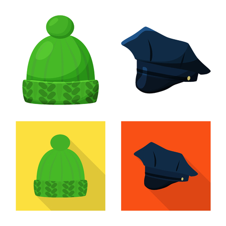 Isolated object of clothing and cap icon. Collection of clothing and beret stock symbol for web. Illustration