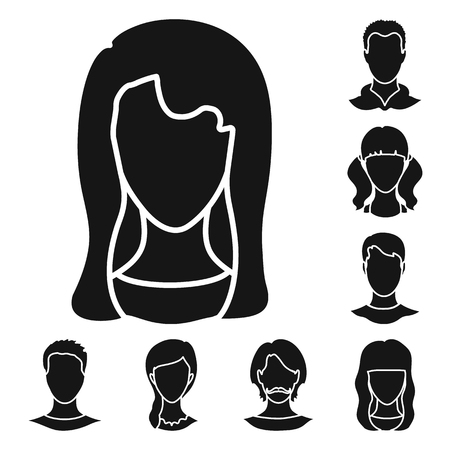 Vector illustration of character and profile logo. Set of character and dummy stock vector illustration.