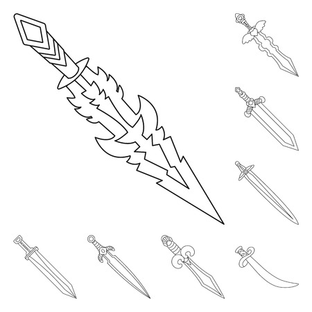 Isolated object of game and armor icon. Collection of game and blade stock symbol for web.