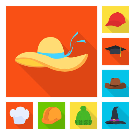 Isolated object of fashion and profession icon. Collection of fashion and cap stock vector illustration.