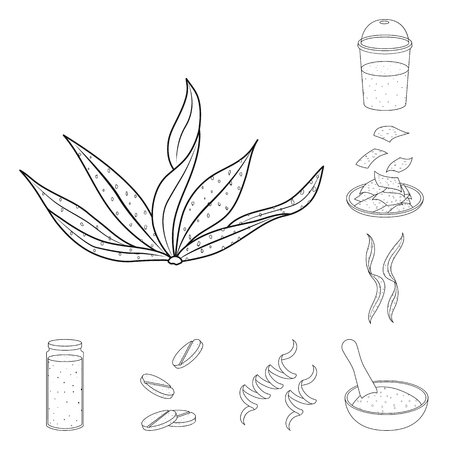 Vector design of food and vegan icon. Collection of food and weed vector icon for stock.