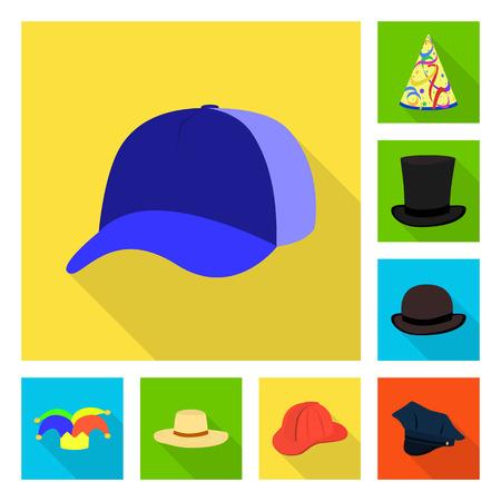 Vector illustration of fashion and profession symbol. Set of fashion and cap stock vector illustration. Ilustración de vector