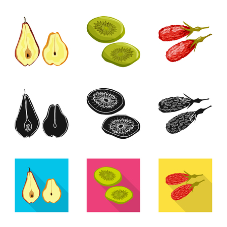 Vector illustration of food  and raw  symbol. Set of food  and nature   vector icon for stock.
