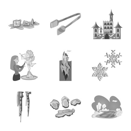 Isolated object of square  and purity sign. Set of square  and frozen  vector icon for stock.