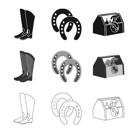 Oggetto isolato dell'attrezzatura e dell'icona di guida. Raccolta di attrezzature e simbolo di borsa concorrenza per il web.