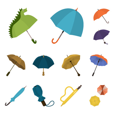 Vector design of umbrella and rain sign. Set of umbrella and weather stock symbol for web.