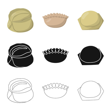 Vector design of products  and cooking sign. Collection of products  and appetizer stock symbol for web. Ilustrace