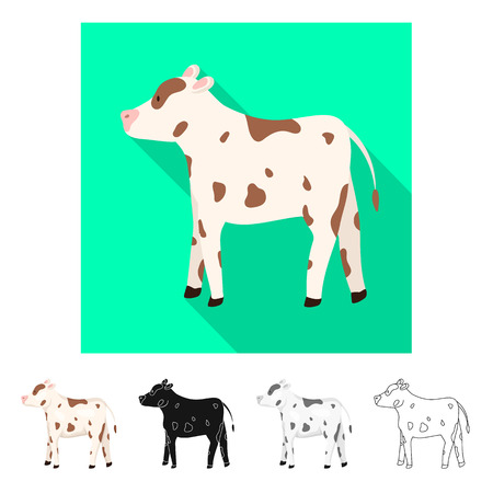 Vector illustration of cow and heifer symbol. Set of cow and milk stock symbol for web. Ilustração