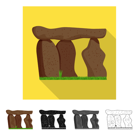 Isolated object of stone  and monolith  sign. Set of stone  and prehistoric stock symbol for web. Illustration
