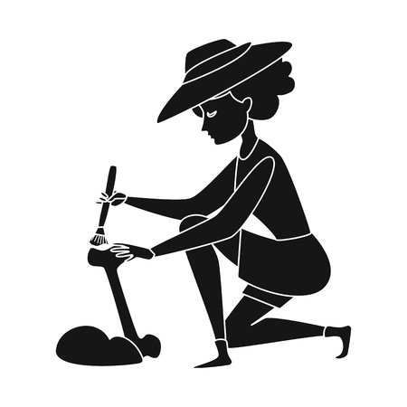 Isolated object of archaeologist  and girl logo. Set of archaeologist  and pit stock vector illustration.