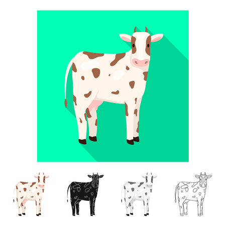 Vector design of cow and calf icon. Collection of cow and milk stock symbol for web.