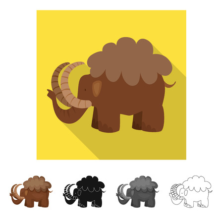 Vector design of mammoth  and animal sign. Collection of mammoth  and prehistory  stock symbol for web.